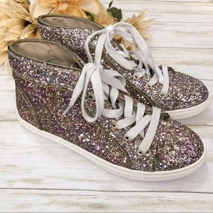 Steve Madden Glitter High Top Sneakers Lace Up